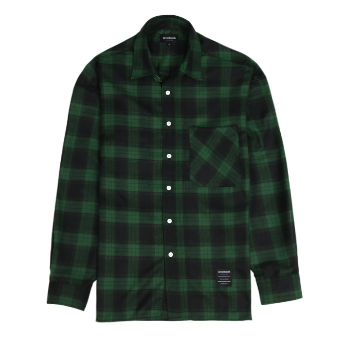 [SEVENTEENTH] OPEN CHECK SHIRTS - GREEN