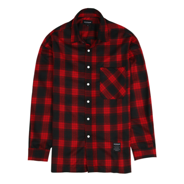 [SEVENTEENTH] OPEN CHECK SHIRTS - RED