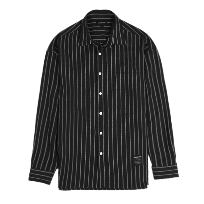 [SEVENTEENTH] OPEN STRIPE SHIRTS - BLACK