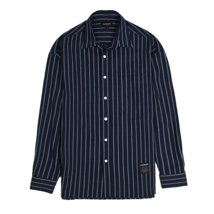 [SEVENTEENTH] OPEN STRIPE SHIRTS - NAVY