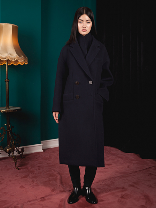 아라크네 Double layerd collar long wool coat