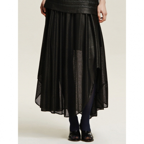 까이에 Spangled Shiring Unbalance Skirt