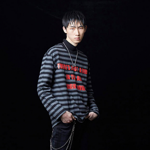 [테뉴] VIBE STRIPE LONG SLEEVE (GREY)