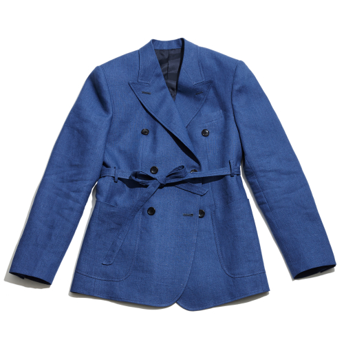 [암위] [AM.WE] Blue Linen Peaked Jacket Women