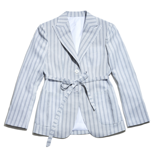 [암위] [AM.WE] Grey Linen Track Stripe Jacket Women