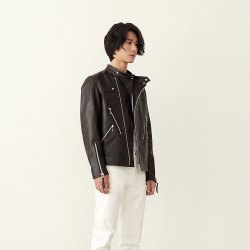 [srst]  Collarless double rider jacket
