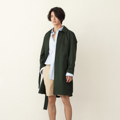[srst]  Cotton trench coat (Green)