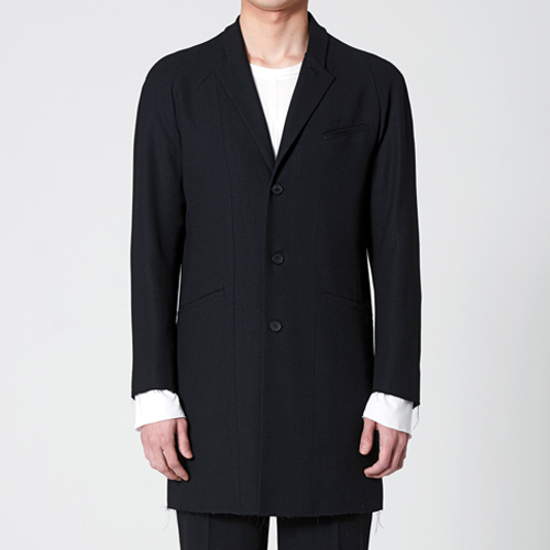 리릭 RAW-EDGE WOOL SINGLE BREASTED COAT