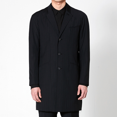 리릭 RAW-EDGE WOOL STRIPE SINGLE BREASTED COAT