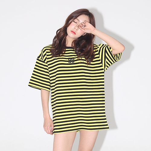 [브랜드명기입][AROUND80] STRIPE SNAKE ROSE T-SHIRTS_YELLOW