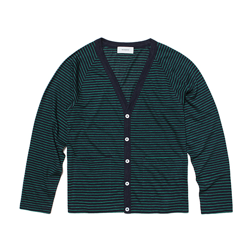 [세컨무브]RAMIE STRIPE CARDIGAN_GREEN