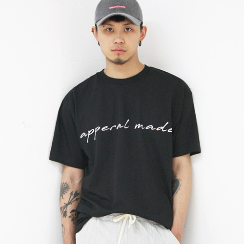 [어메이드][AMADE] Basic Logo Cotton Tee Black