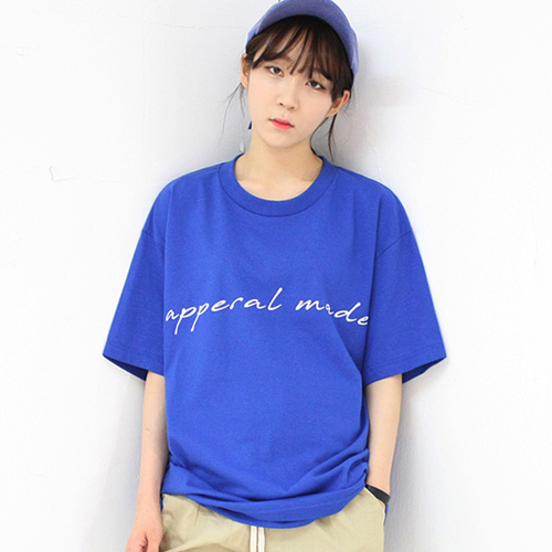 [어메이드][AMADE] Basic Logo Cotton Tee Blue