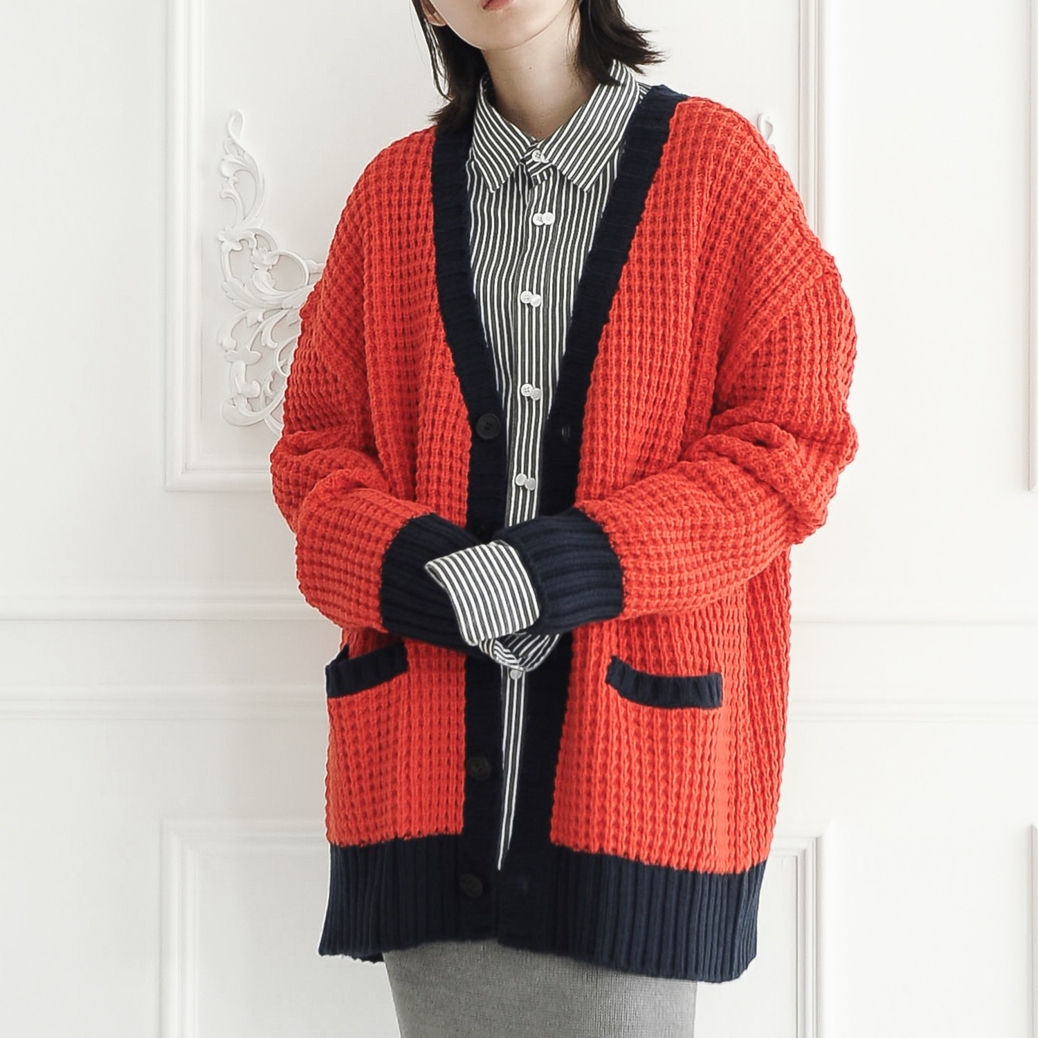 [얼킨]UL:KIN WAFFLE STITCH KNIT CARDIGAN_ORANGE