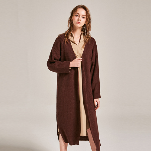[YAN13] LOW LAND SLIT CARDIGAN_BROWN