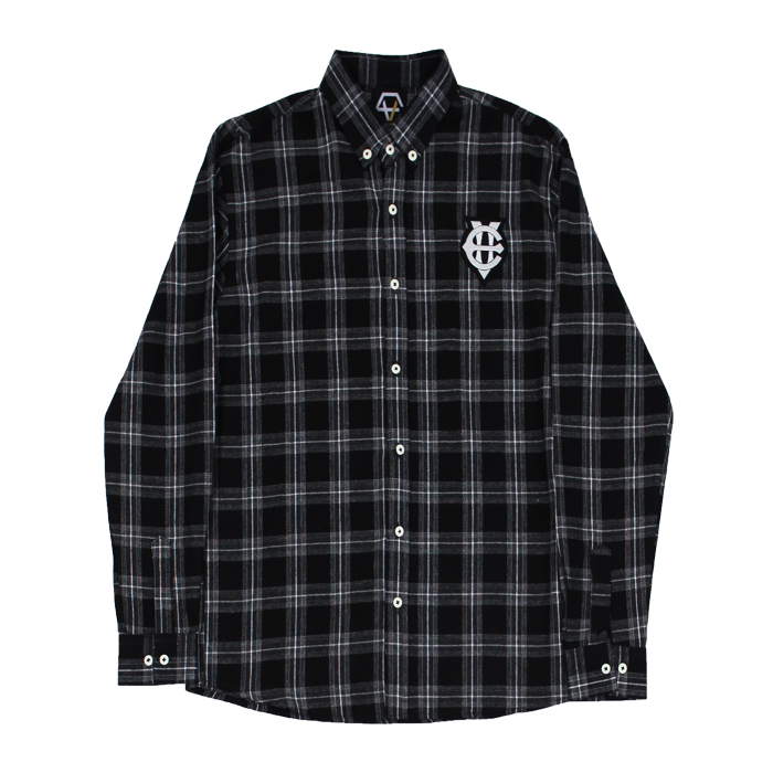 [에잇볼륨]EV Emblem Check Shirts (Black)