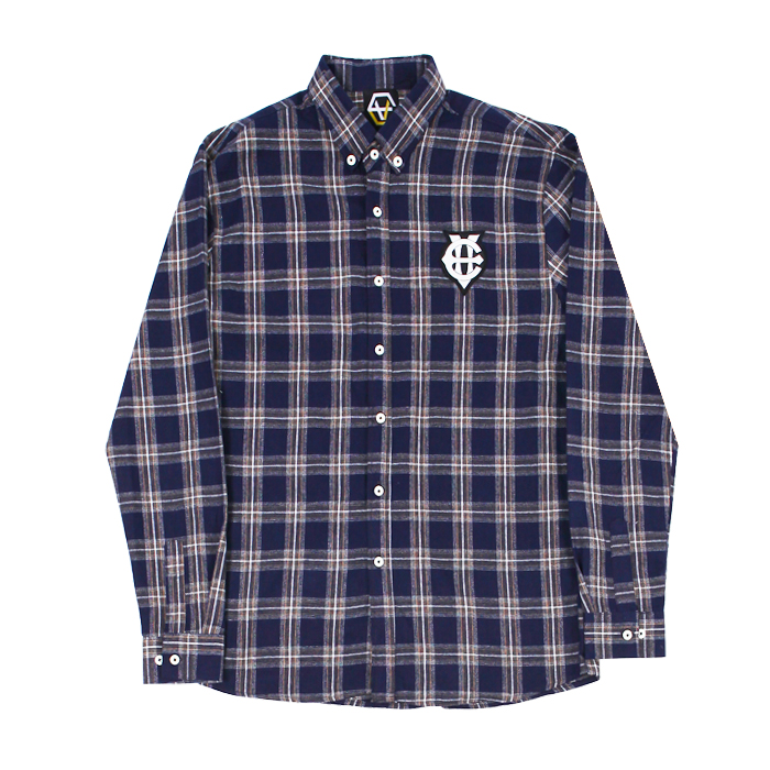 [에잇볼륨]EV Emblem Check Shirts (Navy)