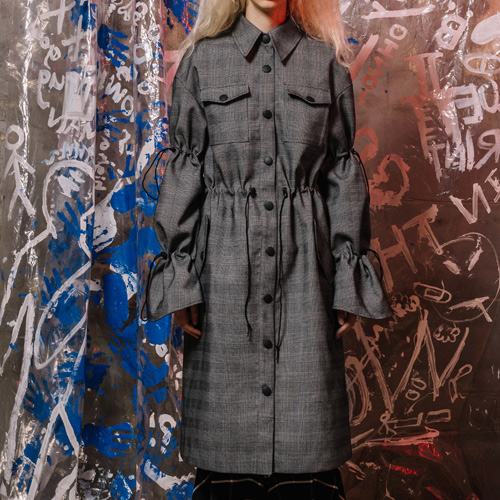 [네스티해빗] [WOMENS] 17FW_DOUBLE STRINGED SLEEVE COAT (grey)