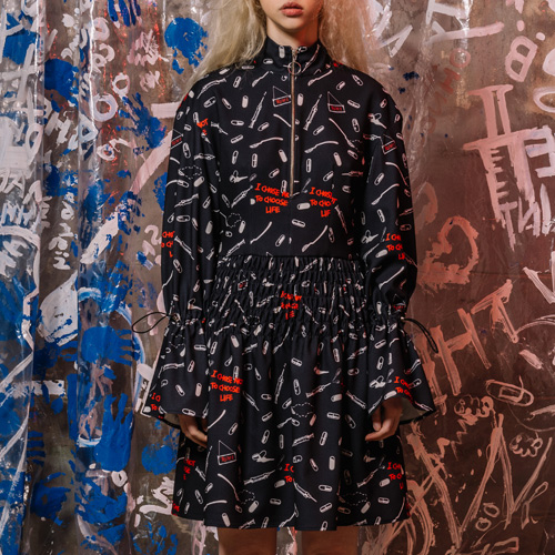 [네스티해빗] 17FW_PILL-PRINT SHIRRING DRESS