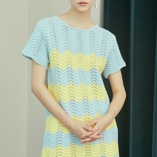 [블리다] skyblue wave knit dress