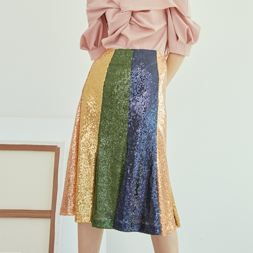 [블리다] rainbow spangle skirt