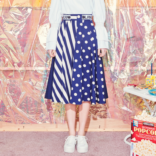 [블랭크] DOT MIX FLARED SKIRT-NV