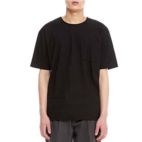 [텐모어]  LINEN HALF SLEEVE - BLACK