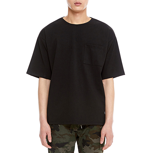 [텐모어]  PONTE HALF SLEEVE - BLACK