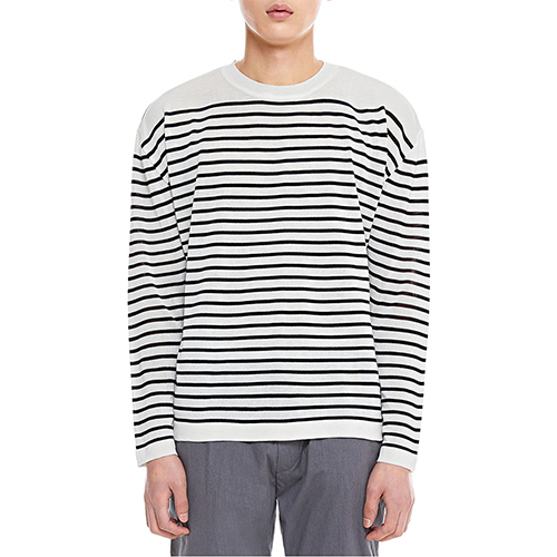 [텐모어]  TENMORE STRIPE KNITS - WHITE