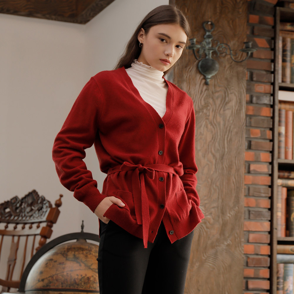 [와드로브] BELTED CARDIGAN_RED