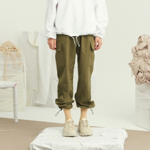 [써틴먼스] STRING WIDE CARGO PANTS (KHAKI)