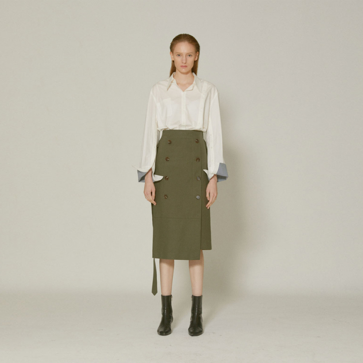 [MUSEE]Jeanne  belted cotton skirt _ Khaki