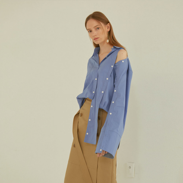 [MUSEE]Poeme asymmetry shirts _ Blue