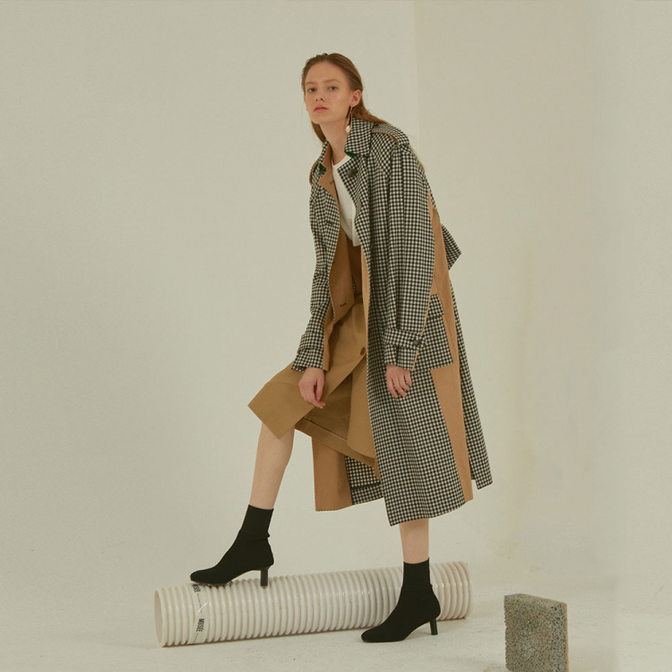 [MUSEE]Bruxelle oversized checktrenchcoat_Ginghamcheck