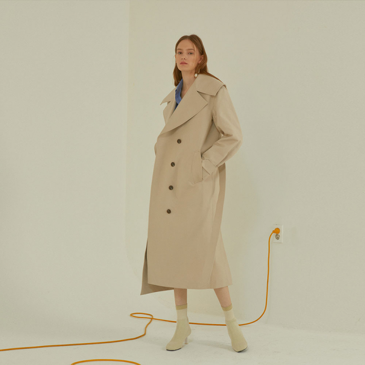 [MUSEE]Lunette oversize collar trench coat _ Light beige