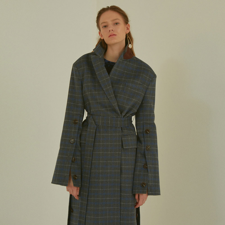 [MUSEE]CamilleWoolSleevepointedcoat_Gray check