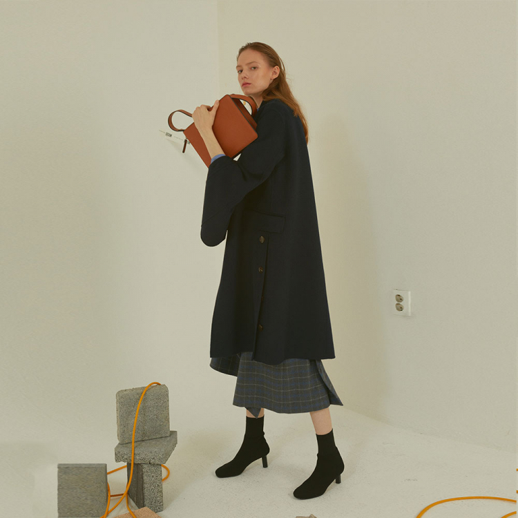 [MUSEE]Camille  Handmade Sleeve pointed coat _ Ink navy