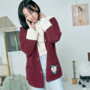 [더센토르] CHECK FLOWER EMBROIDERY KNIT CARDIGAN [WINE]