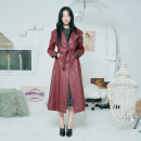 [더센토르] FAUX LEATHER FLARE COAT [WINE]