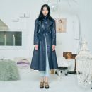 [더센토르] FAUX LEATHER FLARE COAT [NAVY]