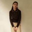 [노타] BUTTON COLLAR KNIT D/BROWN