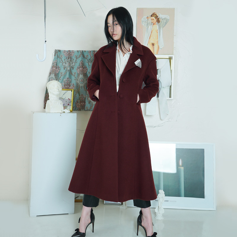 [더센토르] FLARE WOOL COAT [WINE]