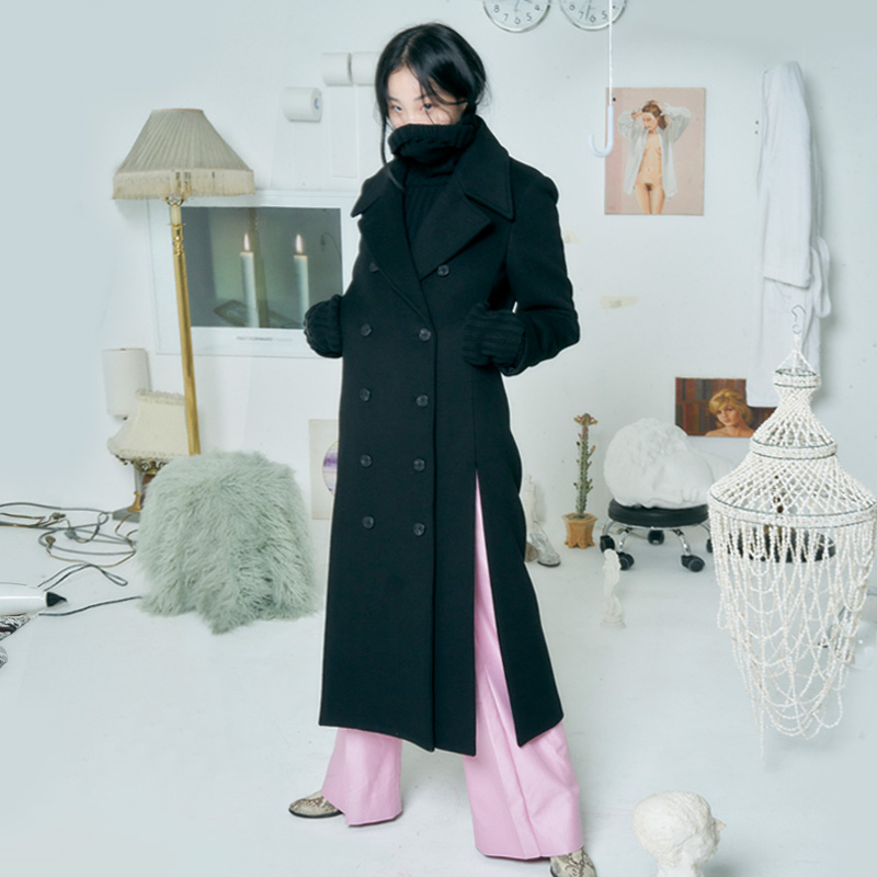 [더센토르] LONG SLIT WOOL COAT [BLACK]