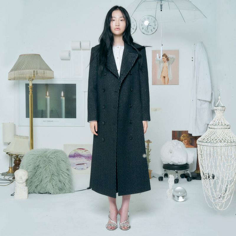 [더센토르] LONG SLIT WOOL COAT [METALLIC BLACK]