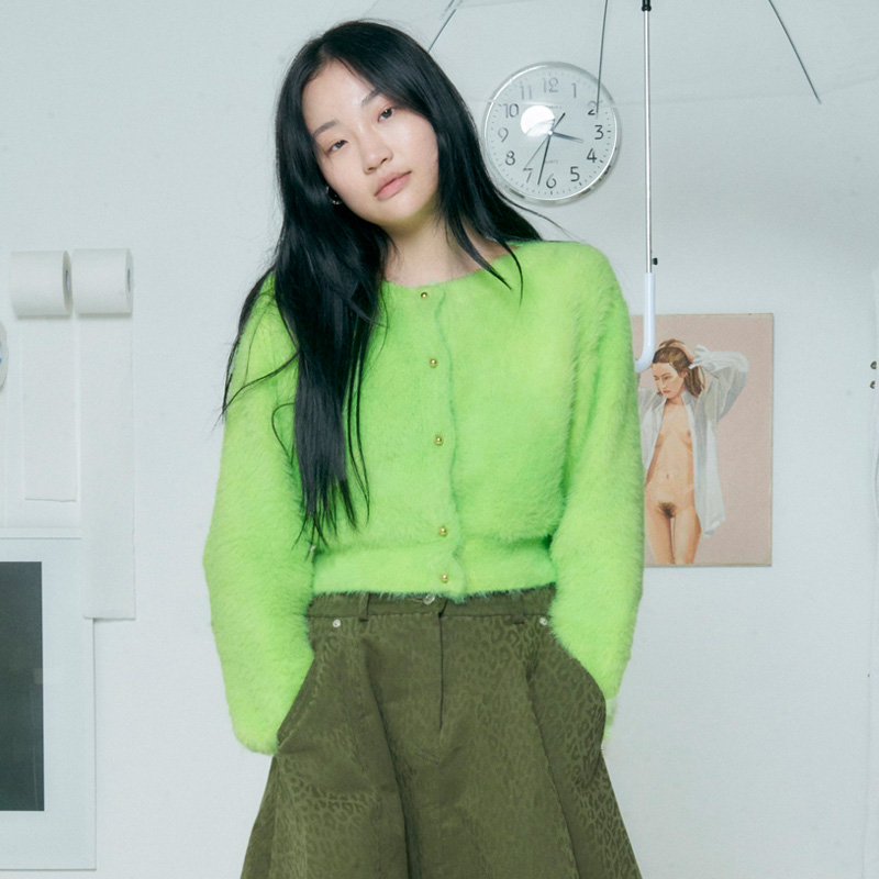 [더센토르] BOAT NECK KNIT CARDIGAN [LIME]
