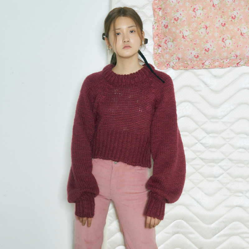 [더센토르] LONG SLEEVE KNIT TOP [WINE]