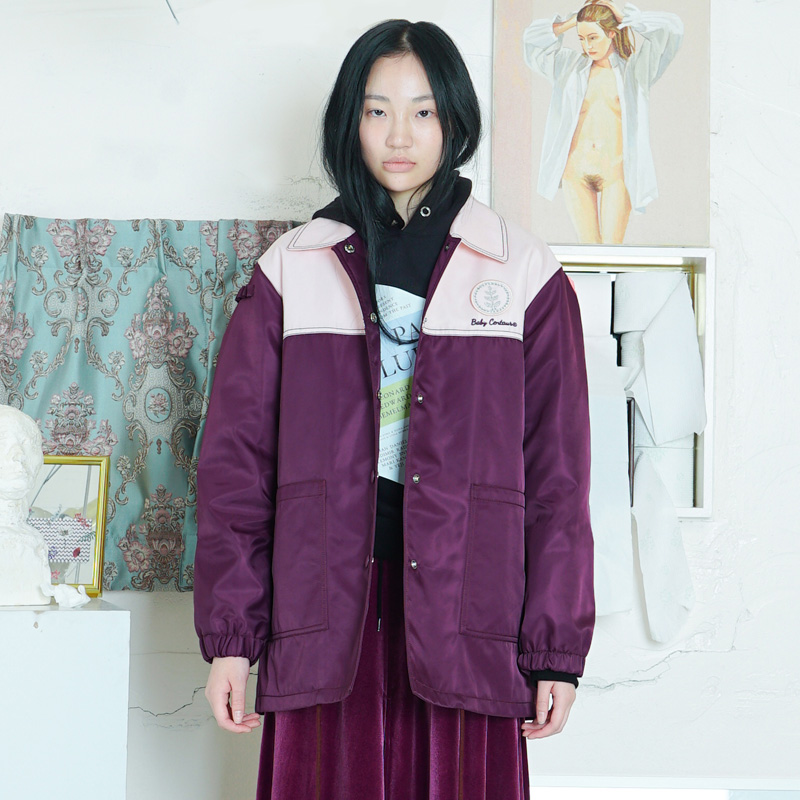 [더센토르] BABY LEAF HOTFIX COACH JACKET [PURPLE]