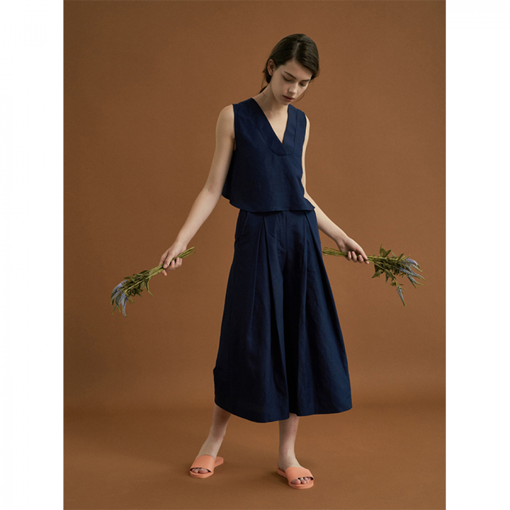 [FAYRI] ELIRA WIDE LEG PANTS (NAVY SEA)