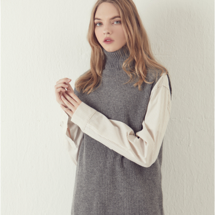 [아르테노] Wool80 Vest Turtle neck Knit - Grey