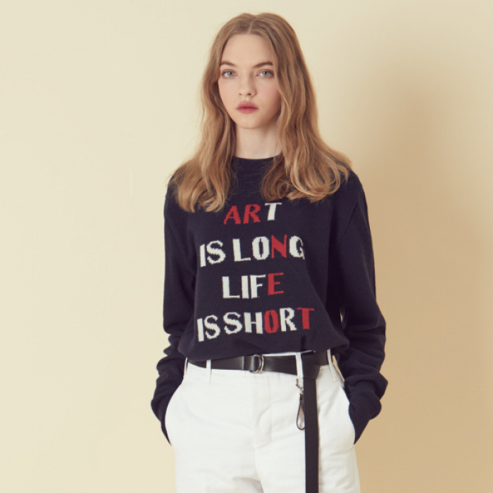 [아르테노] Wool50 Lettering Knit - Navy